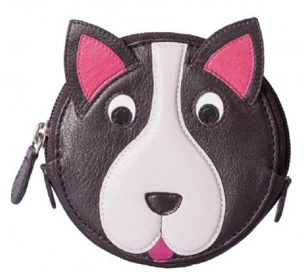 Pinky Dog Round Dark Brown Leather Coin Purse